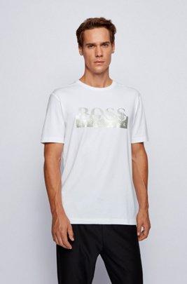 Camiseta con estampado metalizado en algodón elástico orgánico, Blanco