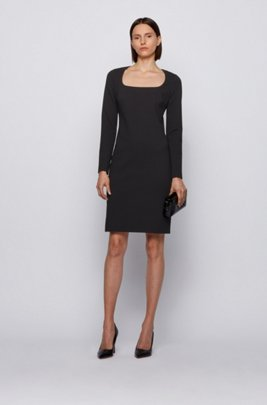 Long-sleeved dress in stretch jersey with houndstooth check, Black