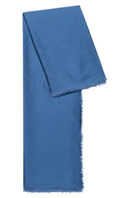 Logo scarf in modal and wool, Light Blue