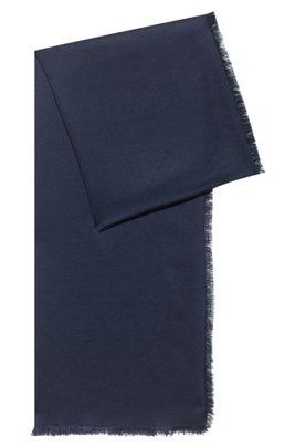 Logo scarf in modal and wool, Dark Blue