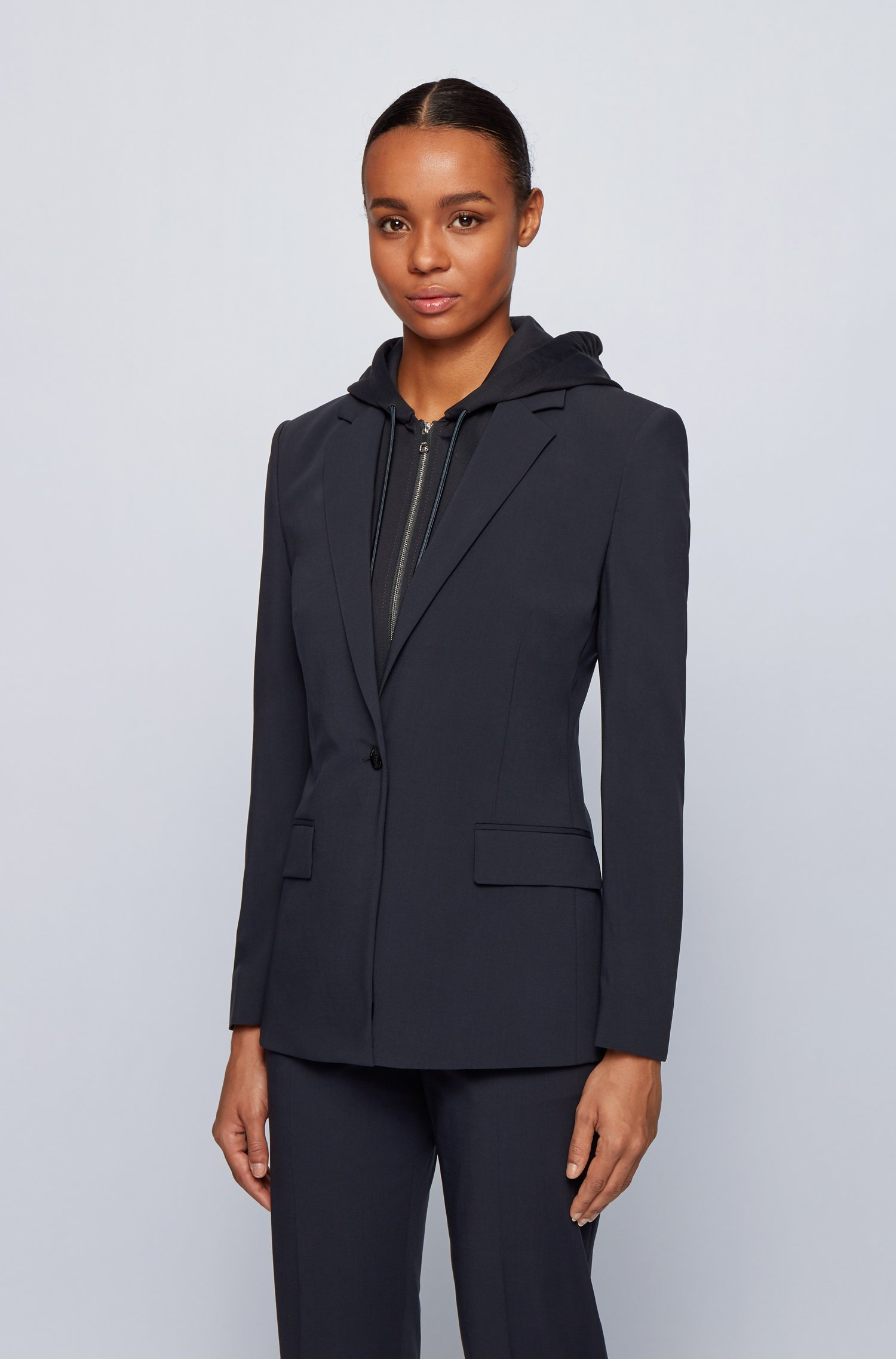 Regular-fit jacket with removable zip-through hooded insert, Dark Blue