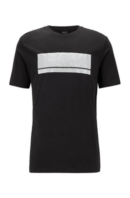 Cotton-blend jersey T-shirt with mixed-print block logo, Black