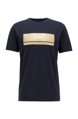Cotton-blend jersey T-shirt with mixed-print block logo, Dark Blue