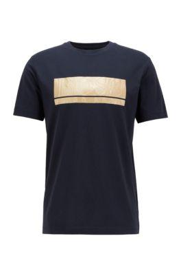 Cotton-blend jersey T-shirt with mixed-print block logo, Dark Blue