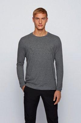 ロングスリーブ アフリカンコットン Tシャツ カーブロゴプリント, グレー