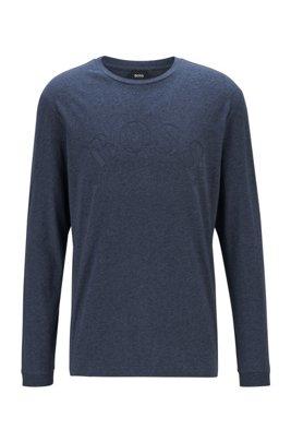 ロングスリーブ アフリカンコットン Tシャツ カーブロゴプリント, ダークブルー