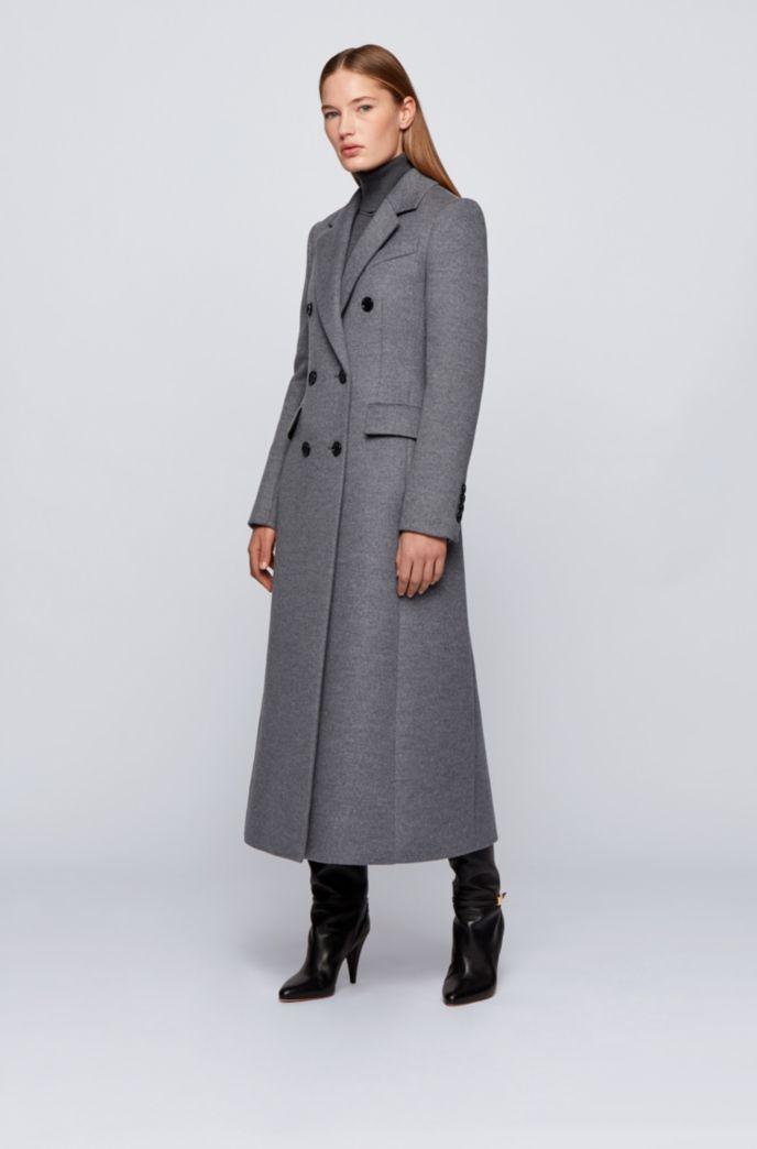 Double-breasted long-line coat in melange virgin wool
