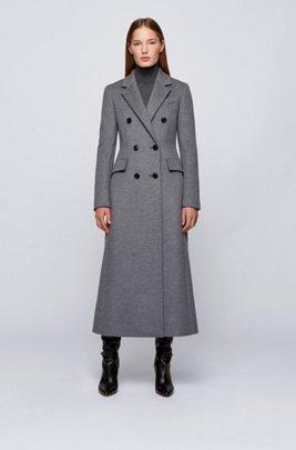 Double-breasted long-line coat in melange virgin wool, Grey