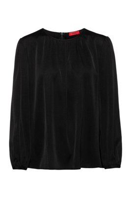 Regular-fit stretch-silk top with gathered neckline, Black