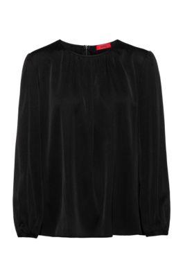 Regular-fit stretch-silk top with gathered neckline, Black