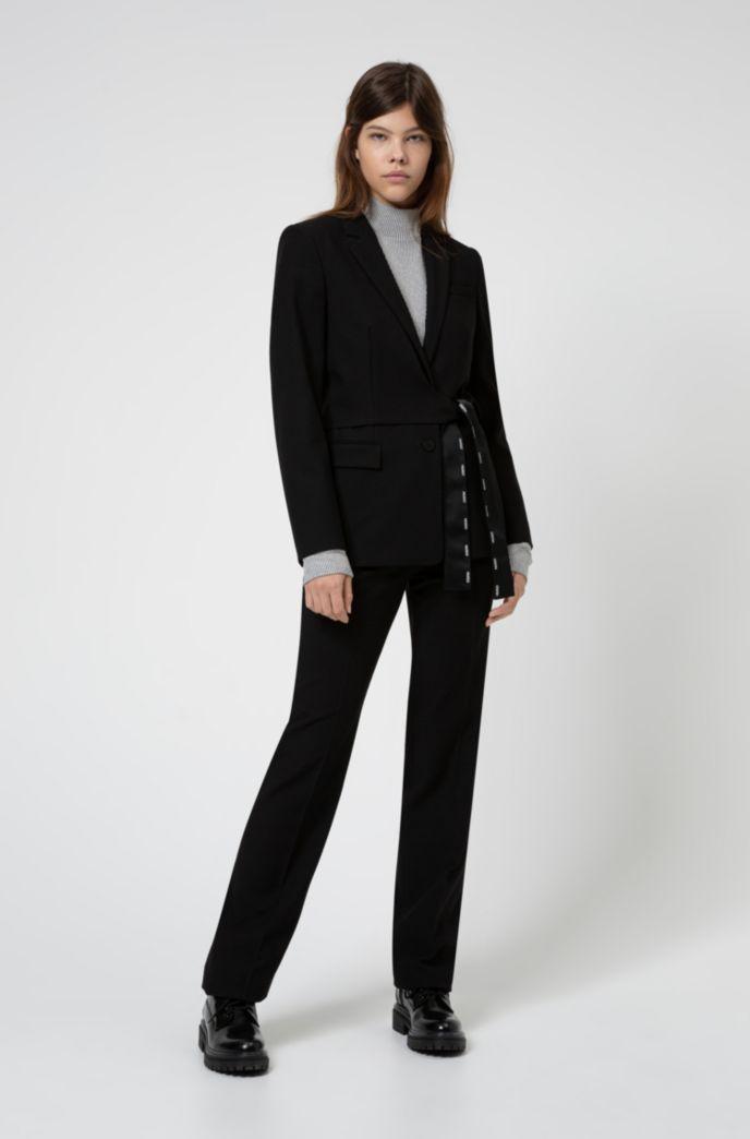 Regular-fit jacket with wrap-around belt