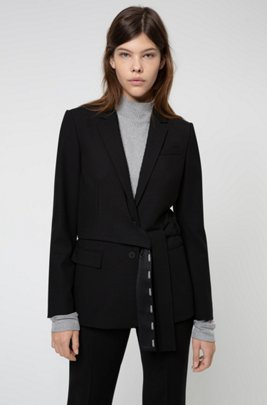 Regular-fit jacket with wrap-around belt, Black