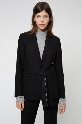Regular-fit jacket with wrap-around belt, Black