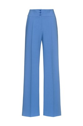 Wide-leg trousers with high-rise buttoned waist, Blue