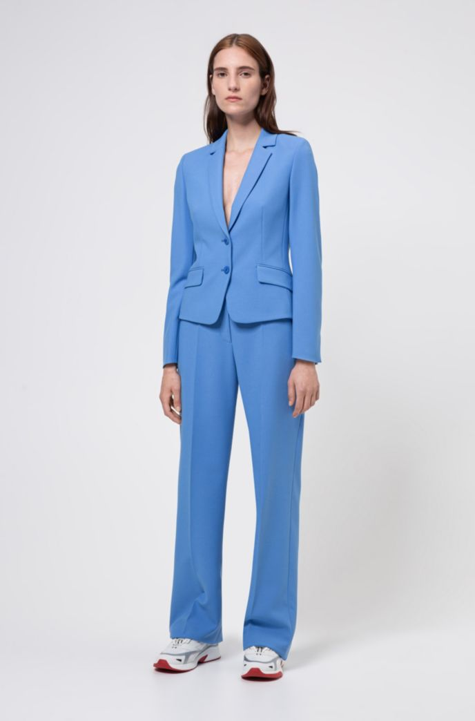 Wide-leg trousers with high-rise buttoned waist
