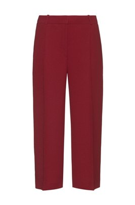 Wide-leg cropped trousers with crease front, Light Red