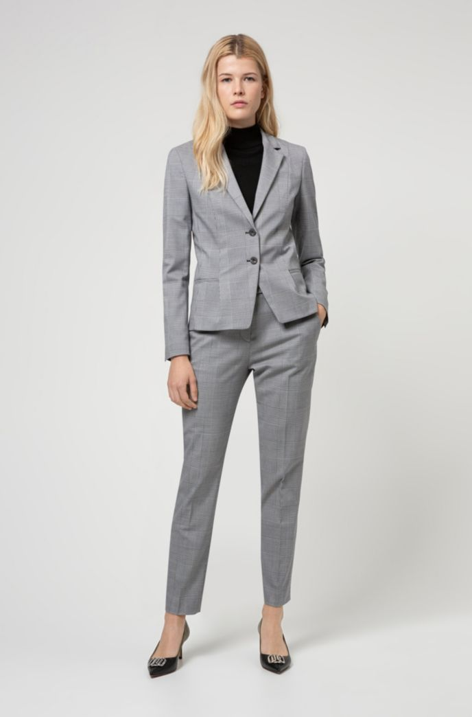 Regular-fit Glen-check jacket in stretch fabric