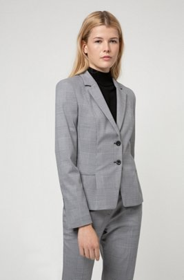 Regular-fit Glen-check jacket in stretch fabric, Light Blue
