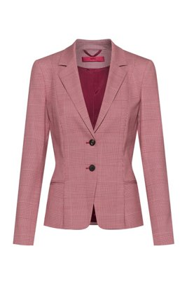 Regular-fit Glen-check jacket in stretch fabric, Light Red