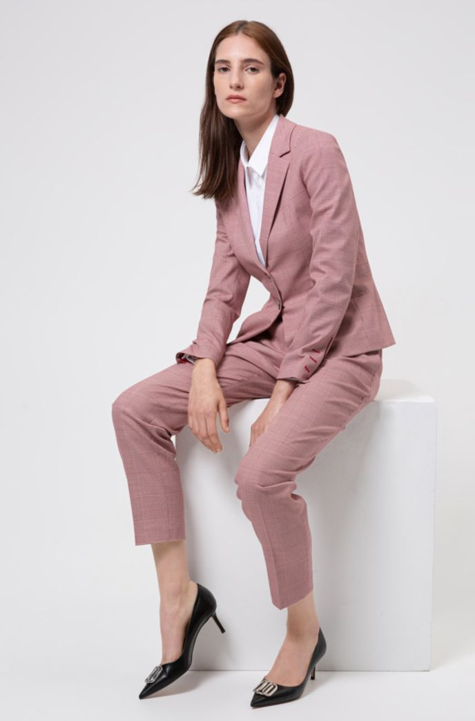 Regular-Fit Blazer aus Stretch-Gewebe mit Glencheck-Muster