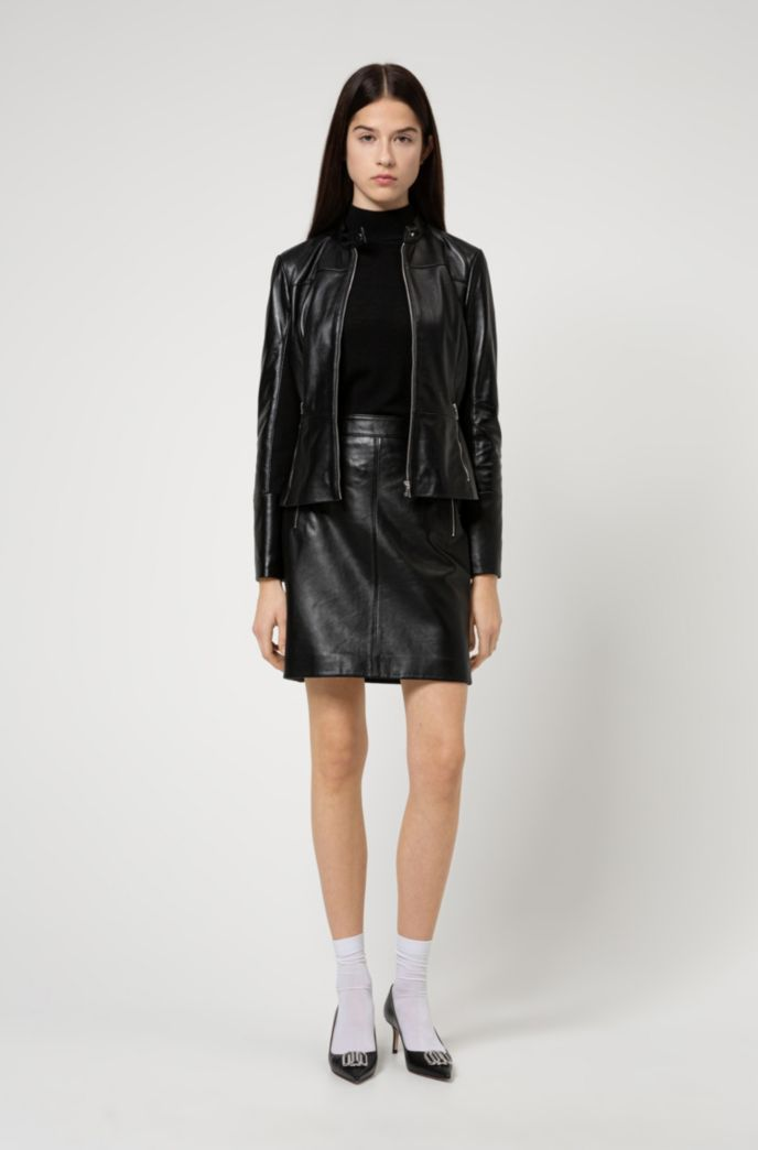 Regular-fit leather jacket with stretch-fabric side panels