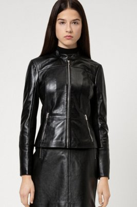 Regular-fit leather jacket with stretch-fabric side panels, Black