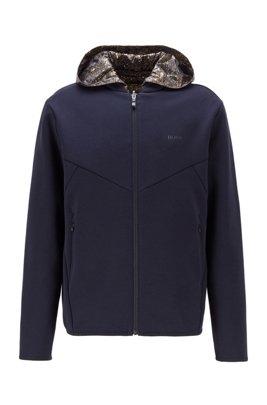 Zip-through reversible sweatshirt with detachable hood, Dark Blue
