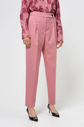 Tapered-fit cropped trousers in stretch fabric, Dark pink