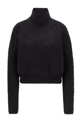 Mock-neck sweater in a textured wool blend, Black