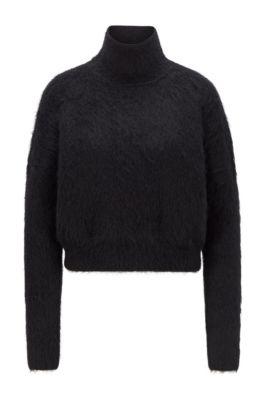 Pullover aus strukturiertem Woll-Mix mit Stehkragen, Schwarz