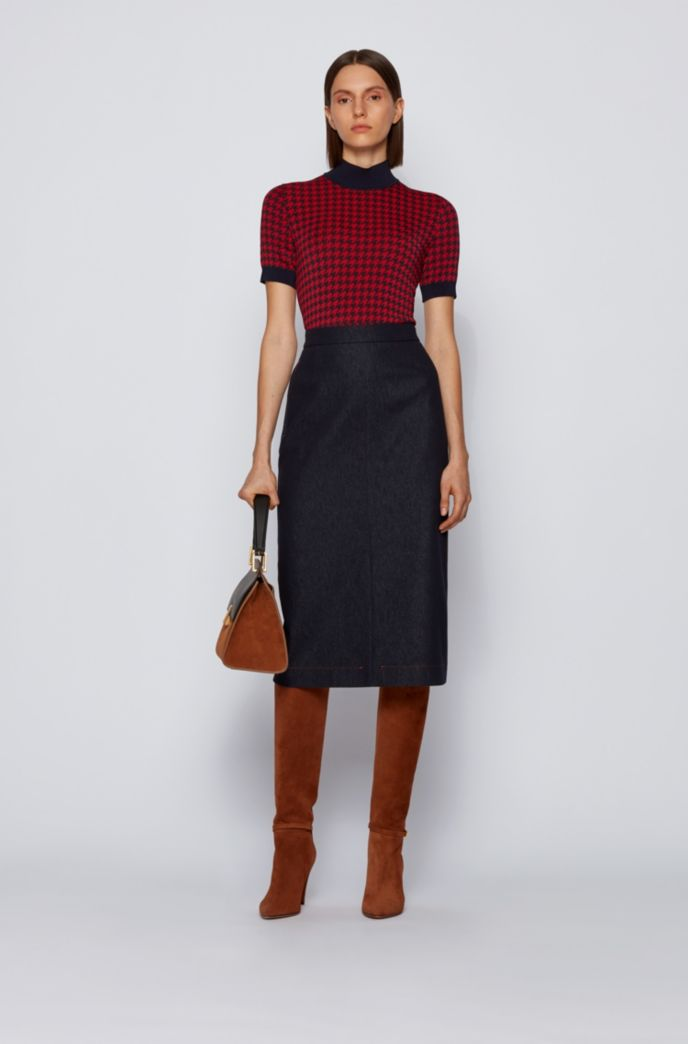 Short-sleeved sweater in Italian houndstooth jacquard