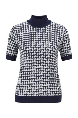 Short-sleeved sweater in Italian houndstooth jacquard, Patterned