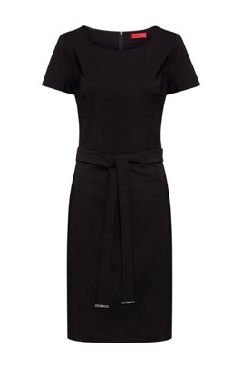 Shift dress in stretch virgin wool with trimmed belt, Black