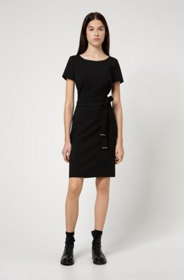 Shift dress in stretch virgin wool with trimmed belt, Black