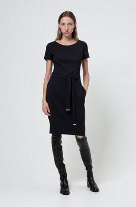 Shift dress in stretch virgin wool with trimmed belt, Dark Blue