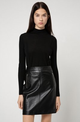 Leather skirt with exposed-zip detailing, Black