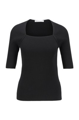 Short-sleeved knitted sweater with overlaid neckline, Black