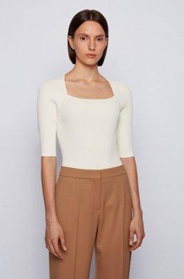 Jersey de punto con manga corta y cuello superpuesto, Blanco