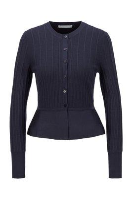 Slim-fit cardigan-style jacket with peplum hem, Patterned