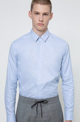 Regular-fit shirt in two-ply cotton, Light Blue