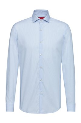 Gestreiftes Slim-Fit Hemd aus bügelleichter Baumwoll-Popeline, Hellblau