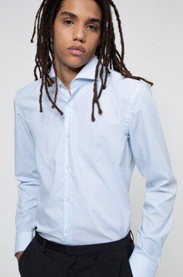 Gestreept slim-fit overhemd in een popeline van gemakkelijk te strijken katoen, Lichtblauw