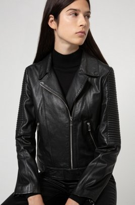 Regular-fit jacket in sustainably tanned leather, Black