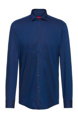Camisa slim fit en lona de algodón con estructura, Azul oscuro