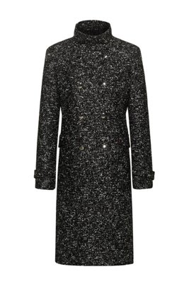 Double-breasted coat in tweed-effect fabric, Black