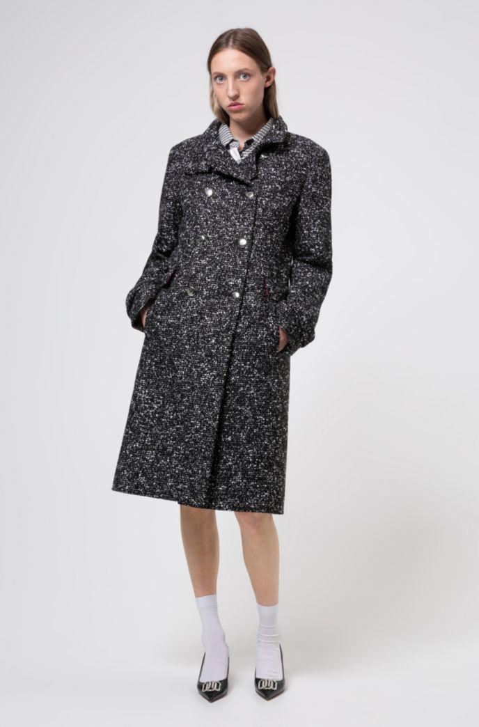 Double-breasted mantel van materiaal met tweed-effect