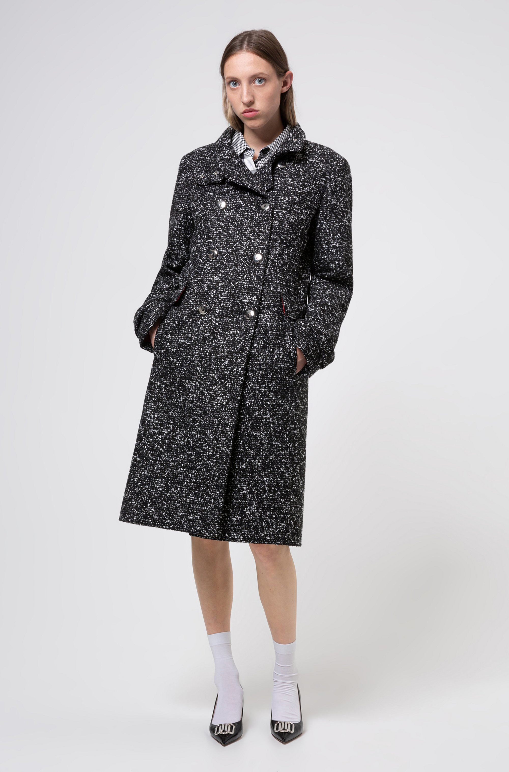 Double-breasted coat in tweed-effect fabric