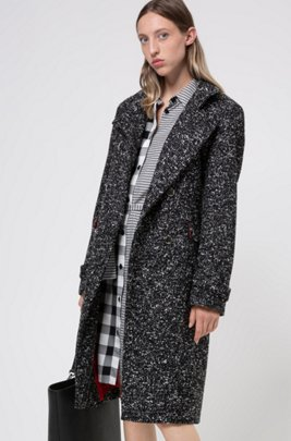 Double-breasted mantel van materiaal met tweed-effect, Zwart