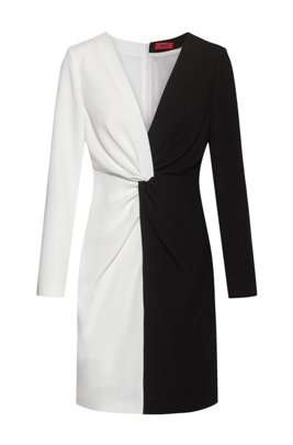Long-sleeved monochrome dress with knotted waistline, Black