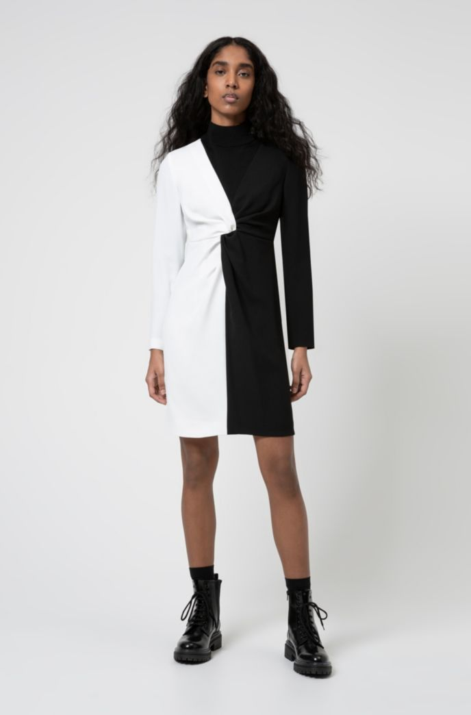 Long-sleeved monochrome dress with knotted waistline